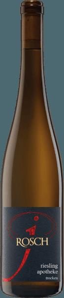De Apotheke Riesling van Josef Rosch streelt de neus met delicate aroma's van peren, bananen en verse kweepeer. Helder en delicaat presenteert deze Riesling zich met aroma's van appels, peren en mirabellen. De fruitige afdronk blijft lang hangen met een subtiele kruidige mineraliteit. Spijsaanbeveling voor de Apotheke Riesling Geniet van deze droge witte wijn bij kipfricassee met doperwten en rijst.