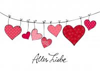 Grußkarte Alles Liebe Herzchen mit Umschlag
