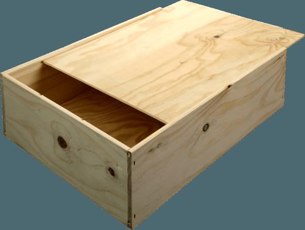B-STOCK - 3 bottles wine wooden box with sliding lid von VINELLO