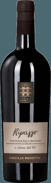 De Valpolicella Ripasso Superiore van Cecilia Beretta schittert in een intens robijnrood in het glas en onthult zijn prachtige bouquet met aroma's van wilde bessen. Deze fruitige tonen worden afgerond met fijne nuances van kreupelhout en gebrande aroma's. Deze Ripasso Superiore overtuigt in de mond met de indrukken van rijpe bessen en een fijne versmelting. Deze krachtige, zachte en harmonieuze wijn eindigt in een lange, fruitige afdronk. Vinificatie voor de Valpolicella Ripasso Superiore door Cecilia Beretta Deze cuvée van rode wijn wordt gemaakt van de druivenrassen Corvina, Rondinella en Molinara. De druiven komen uit Veneto en werden streng geselecteerd. Deze rode wijn wordt geproduceerd volgens de Ripasso Superiore methode, wat betekent dat de druiven eerst worden gedroogd op droogrekken. Dit heeft een concentratie van aroma's tot gevolg. De ontwikkeling voor deze Italiaanse wijn vond plaats gedurende 12 maanden in barrique vaten. Spijsadvies voor de Valpolicella Ripasso Superiore van Cecilia Beretta Geniet van deze droge rode wijn bij eendenbout met sinaasappelsaus en couscous of bij een westernsteak met aardappelrösti.