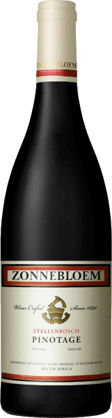 The Pinotage from Zonnebloem sparkles in the glass in a ruby ​​red, which is crossed by a purple shimmer. Elegant aromas of cherry liqueur and dark fruits, such as plum, caress the nose and combine with undertones of mocha chocolate and a woody spice. The full-bodied, balanced palate of the Pinotage by Zonnebloem unfolds cherry and mocha flavors, refined by a delicate woody spice. Fruit and strong, round tannins are perfectly integrated and ensure a long and lasting finish. This red wine from Stellenbosch, South Africa, is perfectly balanced and harmonious. Vinification for the Zonnebloem Pinotage 45% of this varietal wine is matured in steel tanks and 55% in French, American and Hungarian oak barrels. Food recommendation for the Zonnebloem Pinotage Enjoy this dry red wine either solo or with dishes with dark meat, leg of lamb, pasta with mushrooms or chocolate desserts. Awards for the Zonnebloem Pinotage IWSC 2017: Gold