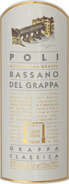 The Bassano del Grappa Classica from Jacopo Poli is a lively, elegant grappa distilled from the marc of Cabernet Sauvignon and Merlot grapes. A clear, transparent colour is present in the glass of this grappa. The aromatic bouquet reveals fruity aromas of juicy apples, ripe quinces and prunes. Very lively with an elegant body, this Italian grape marc spirit caresses the palate. A very balanced and harmonious grappa with a pleasant finish. Distillation of Poli Bassano del Grappa Classica The still fresh pomace of the Merlot and Cabernet Sauvignon grapes is traditionally distilled in old copper boilers. After distillation this grappa still has 75 vol%. By adding distilled water, this grappa has an alcohol content of 40% by volume. Afterwards this Grappa rests for altogether 6 months in high-grade steel tanks, in order to be filled finally gently filtered on the bottle. Serving suggestion for Bassano del Grappa Classica Jacopo Poli Enjoy this Grappa at a temperature of 10 to 15 degrees Celsius as a refreshing digestif or also to desserts from fine pastries.