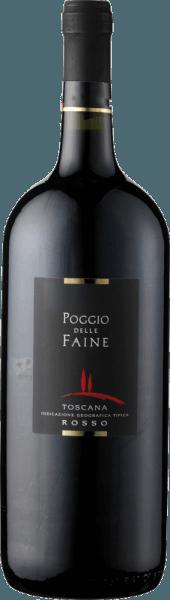 De Poggio delle Faine Rosso IGT van Poggio delle Faine toont zich in het glas in een diep granaatrood en onthult zijn geconcentreerde bouquet. Deze bevat de aroma's van donker bessenfruit en kersen, alsmede de kruidige componenten van vanillehout. In de mond is deze cuvée van Sangiovese en Cabernet Sauvignon aanwezig met warm en vleiend fruit en fijne nuances van koffie en chocolade. Deze rode wijn uit Toscane heeft een lange afdronk, concentratie en veel potentieel. Aanbevolen voedsel voor de Poggio delle Faine Rosso IGT van Poggio delle Faine Geniet van deze droge rode wijn bij pasta's met tomatensauzen, sterke vleesgerechten van varkens-, rund-, lams- of wildvlees of bij gegrilde gerechten. Onderscheidingen voor de Poggio delle Faine Rosso IGT van Poggio delle Faine Mundus Vini: Goud (jaargangen 2011, 2008, 2007) Mundus Vini: Zilver (oogstjaar 2009) Berlijn Wijn Trofee: Goud (wijnjaar 2011) Daejeon Wijn Trofee: goud (wijnjaar 2008) Decanter: Zilver (jaargang 2007)