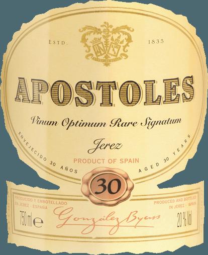 De Apostoles Palo Cortado van Gonzalez Byass is een aromatische, zachte sherry van de druivensoorten Palomino Fino (87%) en Pedro Ximenez (13%). Deze sherry schittert in het glas in een warme amberkleurige tint en straalt een elegant bouquet uit met de fijne en geconcentreerde aroma's van noten en gedroogd fruit - vooral dadels en vijgen. De druivensoort Pedro Ximénez geeft deze sherry hints van rozijnen en zoethout. In de mond is de ByassApostoleszacht, intens en complex. De fijne noten van karamel en kostbaar hout herinneren aan de lange rijping in vaten, de elegante nuances van rozijnen van de Pedro Ximénez. Deze sherry bekoort door zijn perfecte balans tussen zuurte en zoetheid, en door de lange afdronk. Vinificatie van de Byass Apostoles Palo Cortado Na de zorgvuldige handmatige oogst van de twee druivensoorten, worden de druiven onmiddellijk naar de wijnkelder van Gonzalez Byass gebracht. Daar worden de druiven apart gevinifieerd. De Palomino Fino bessen worden eerst voorzichtig geperst. Bij lage temperaturen wordt deze sherry droog vergist in roestvrijstalen tanks en vervolgens versterkt tot 18 volumeprocent en in palo cortado soleras geplaatst. De Pedro Ximenez-druiven worden eerst ongeveer 2 weken op traditionele wijze in de zon gedroogd. Daarna volgt de gisting in roestvrijstalen tanks en de versterking tot15% volume. Daarna wordt deze wijn in de Pedro Ximenez soleras gedaan. Gedurende 12 jaar rijpen de twee wijnen afzonderlijk, vervolgens worden ze met elkaar gehuwd en nu rijpen ze samen 18 jaar in Apostoles soleras. Dankzij de vatrijping van 30 jaar mag deze sherry van hoge kwaliteit het zeldzame kwaliteitszegelVORS (Vinum Optimum Rare Signatum) dragen. Aanbevolen voedsel voor de Gonzalez Byass Apostoles Palo Cortado VORS Geniet van deze sherry bij foie gras, pittige oude kazen of geroosterd rood vlees. Tip: Serveer deze dessertwijn in een wit wijnglas om hem de ruimte te geven zijn bouquet te ontwikkelen. Onderscheidingen voor deApostoles Palo Cortado G