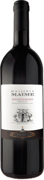The Masseria Maime Salento IGT of Tormaresca is one of the top wines of the estate. The Negroamaro Masseria Maime shows itself in the glass in intense ruby red, on the nose floral scents of roses and violets, fresh dark fruit such as black cherries, mulberries, followed by spicy notes reminiscent of liquorice anise, cinnamon and cloves. On the palate, this magnificent red wine from Apulia is rich in fruit, elegant with balanced, soft and velvety tannins. The finish is long, dense and persistent. Vinification of Masseria Maime Salento IGT from Tormaresca For this pure Negroamaro, the grapes are harvested by hand at the end of September, fully ripe. The pressing is followed by maceration and alcoholic fermentation on the skins for a period of 15 days at a controlled temperature of between 26° and 28° C. The skins are then gently pumped under with a special technique that allows the gentle and uniform extraction of colour, aromas and tannins. After the skins have been removed, the wine is immediately transferred to French oak barriques, where malolactic fermentation takes place, followed by 12 months of ageing. After bottling, the wine matures for another 18 months in the bottle before being sold. Food pairing for the Tormaresca Masseria Maime Salento IGT Enjoy this fine and fruity red wine from Apulia with typical regional dishes, orecchiette with tasty minced meat sauces or traditional chicory, grilled, red and dark meats, ripe and spicy cheeses. Awards for the Masseria Maime Salento IGT by Tormaresca Gambero Rosso: 2 red glasses for 20123; 3 glasses for 2012 Bibenda: 5 grapes for 2013, 4 grapes for 2011 Falstaff: 90 points for 2013, 92 points for 2011 Wine Enthusiast: 91 points for 2012 Wine Spectator: 90 points for 2012 James Suckling: 90 points for 2012 Wine Advocate Robert M.Parker: 90 points for 2012; 92 points for 2011 Veronelli Guide: 3 stars for 2012 and 2011 I Vini Buoni d'Italia: 4 stars for 2012 and 2011 Luca Maroni: 90 points for 2011