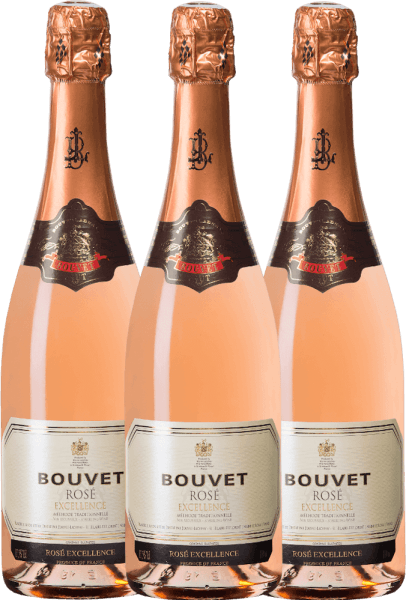 Bouvet's Rose Brut Excellence shimmers softly salmon-coloured in a champagne glass. With a fine perlage, this crémant smells of red fruits. On the palate intense red currants, some cassis and intense peach fruit. This wonderful sparkling wine is now available in a practical 3-pack. Learn more about this French sparkling wine in the expertise of Bouvet Ladubay Brut Rosé Excellence.