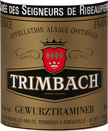 The grapes grown on marl-calcareous soil give the Gewürztraminer blend des Seigneurs de Ribeaupierre by F.E. Trimbach its strong and characteristic note. Only in great years are the Gewürztraminer grapes harvested from old vines and vinified to the blend des Seigneurs de Ribeaupierre. It can be drunk as an aperitif, with goose liver and pâtés, with fine Asian cuisine and with all Alsatian specialities. It is also an excellent complement to Munster cheese and other cheeses made from goat`s milk and blue mould.