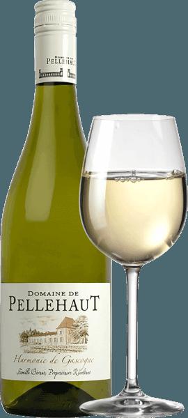 De Harmonie de Gascogne Blanc van Domaine de Pellehaut uit de Franse wijnstreek Gascogne is een veelzijdige, grootse en ongecompliceerde cuvée van witte wijn, gevinifieerd van de druivensoorten Ugni Blanc, Sauvignon Blanc, Colombard, Chardonnay en Gros et Petit Manseng. Deze wijn openbaart zich in een heldere, strogele kleur in het glas. Het aantrekkelijke, veelzijdige aroma doet denken aan citrusvruchten, kruisbessen, acaciabloesem en rijpe aroma's van tropisch fruit met kruidige en kruidige nuances. In de mond worden de smaken van tropisch fruit in evenwicht gehouden door een frisse zuurgraad die tot in de finale blijft hangen. Wanneer men van deHarmonie de Gascogne Blancgeniet, merkt men een delicate body en een fris, levendig evenwicht. Vinificatie van deDomaine de Pellehaut Harmonie Blanc Voor de vinificatie van deHarmonie de Cascogne Blanc gebruikt het wijnhuisdruiven van de rassen Colombard, Ugni Blanc,Sauvignon Blanc, Gros Manseng en Chardonnay. Deze worden na de oogst ontsteeld en vervolgens in de vorm van puree geperst. De most die hieruit voortkomt, gaat in stalen tanks, ondergaat een temperatuurgecontroleerde gisting en rijpt vervolgens ongeveer zes maanden voordat hij wordt gebotteld. Aanbevolen voedsel voor de Harmonie de Cascogne Blanc Wij bevelen deze droge witte wijn uit Zuid-Frankrijk aan als aperitief, bijmosselen, oesters engevogelte.