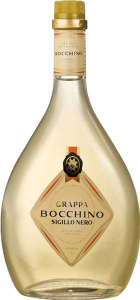 Deze traditionele grappa van de historische Distilleria Bocchino in Canelli in Piemonte, is gemaakt van geselecteerde marcs van de druivensoorten Barbera d'Asti, Dolcetto del Monferrato en Nebbiolo uit de regio. De Grappa Sigillo Nero krijgt zijn typische lichte amberkleur, zijn fijne aroma en zijn zuivere, droge en geurige smaak door de rijping in grote houten vaten.