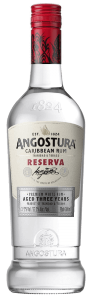 The Angostura Caribbean Rum Reserva 3yo unfolds the fine aromas of exotic fruits, bananas and coconut. This Trinidad & Tobago rum is exceptionally soft and smooth on the palate. The notes of the bouquet are reflected and complemented by a hint of vanilla. Production of Caribbean Rum Reserva 3yo by Angostura After distillation in a 5-column distilling apparatus, this white rum is stored for 3 to 5 years in old American oak Bourbon barrels. Recommended serving for Caribbean Rum Reserva 3yo by Angostura Enjoy this Caribbean rum as a base for classic long drinks and cocktails.