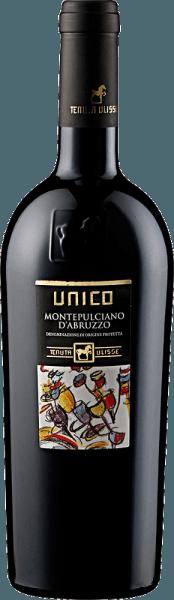 Deze single-varietal Montepulciano d'Abruzzo openbaart zich in een helder robijnrood.Het complexe en fascinerende bouquet van de UNICO Montepulciano d'Abruzzo DOC van Tenuta Ulisse wordt gedomineerd door sappige, fruitige tonen van zwarte kersen en rode bessen. Vervolgens komen daar animerende kruidige noten als paprika en verse munt bij, gecombineerd met chocolade en discrete karameltonen. Wij raden hem aan bij rood vlees, krachtige risottogerechten, pizza en belegen kaas.