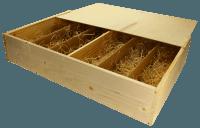 6er Wein-Holzkiste mit Schiebedeckel und Holzwollefüllung
