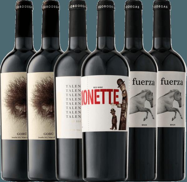 Met dit 6er Kennlernpaket duik je in de magische wereld van Ego Bodegas. Niet alleen visueel overtuigen de prachtige rode wijnen, maar vooral ook de fantastische verscheidenheid aan smaken in de neus en op het gehemelte. Laat ons u meenemen op een reis naar de top Spaanse wijnmakerij in Jumilla. Het6er Kennenlernpaket met rode wijnen van Ego Bodegas bevat 2 flessenGorú Jumilla DO 2 flessenFuerza Jumilla DO 1 fles Talento Jumilla DO 1 flesMarionette Jumilla DO