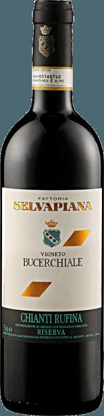 De Chianti Rufina Bucerchiale Riserva DOCG van Selvapiana openbaart zich in het glas in een donkerrode kleur met granaatrode reflecties en de heerlijke aroma's van bramen en bosbessen. Deze aroma's worden ondersteund door tonen van kersen met florale hints. Deze Sangiovese uit Toscane is intens en complex in de mond met veel substantie. Vinificatie van de Chianti Rufina Bucerchiale Riserva DOCG door Selvapiana De wijnstokken voor deze wijn zijn geworteld in klei- en kalkbodems in de gemeente Rufina Vigneto Bucerchiale. De druiven werden met de hand geoogst, geweekt en alcoholisch en malolactisch vergist. De rijping vond plaats in Franse eiken vaten. Spijsadvies voor de Chianti Rufina Bucerchiale Riserva DOCG van Selvapiana Geniet van deze droge rode wijn bij krachtige gerechten met varkens- en rundvlees, gegrild vlees, lamsvlees en wild of bij sterke kazen. Onderscheidingen voor de Chianti Rufina Bucerchiale Riserva DOCG van Selvapiana Vinous - Antonio Galloni: 92 punten (jaargang 2012) Jancis Robinson: 16,5+ punten (oogstjaar 2012) Gambero Rosso: 2,5 glazen (oogstjaar 2012)