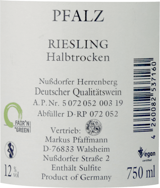 The green-yellow Riesling MP semi-dry from Markus Pfaffmann has a cool, mineral bouquet reminiscent of ripe citrus fruits (lemons, limes), apples and yellow stone fruit. Fruity sweetness and a balanced, almost citric, fresh acidity determine the taste, which spreads on the juicy, clear, fresh, full-bodied and slightly melted palate. This white wine is beautifully balanced and flows into a herbal spicy, long aftertaste