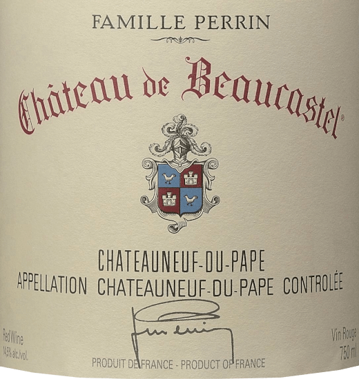 The Château de Beaucastel from Perrin & Fils from the French AOC Châteauneuf du Pape in the southern Rhône Valley is an excellent, expressive and elegant top-quality red wine cuvée made from the grape varieties Mourvèdre, Grenache, Syrah, Counoise and other approved red varieties. In the glass this wine shimmers in a deep Bordeaux red with rich cherry red highlights. The wonderfully elegant nose reveals an intense bouquet of ripe cherries, blackcurrants and floral notes of violets, aromatic herbs (bay leaf), a touch of spices and the finest hints of chocolate. This French red wine convinces the palate with its incredibly elegant character. The tannins are ripe and fine, beautifully dense and concentrated structured. This perfectly underlines the seductively velvety texture, which is reinforced by finely spiced fruit. The finish is wonderfully long, sustained by elegant as well as enveloped tannins and the unforgettable interplay of fruit, spices and floral notes. Vinification of the Perrin & Fils Château de Beaucastel In the beautiful Châteauneuf du Pape (situated between Orange and Avignon) is Château de Beaucastel with its 70 hectares of vineyards. The soils show up on the surface with rolled pebbles, deeper lying sand, loam and limestone. Each grape variety is picked separately and carefully by hand. Vinification takes place in oak fermenters for the reductive varieties (Mourvèdre, Syrah) and in traditional enamelled concrete tanks for the oxidative grapes (all other varieties). Once the malolactic fermentation is complete, the Perrin family marries the different varieties. Finally, this French red wine matures for 12 months in oak foudres before the cuvée is bottled. Food recommendation for the Château de Beaucastel This dry red wine from France harmonizes particularly well with dark meat dishes, strong game dishes or mushroom dishes. We recommend decanting this cuvée for at least 1 hour before drinking. Awards for the Château de Beaucastel Châteauneuf du Pape f