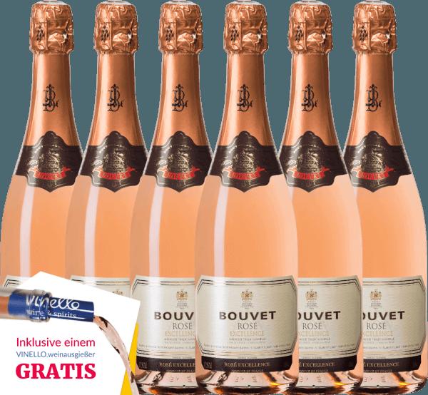 6er Vorteils-Weinpaket - Crémant Brut Rosé Excellence - Bouvet Ladubay von Bouvet Ladubay
