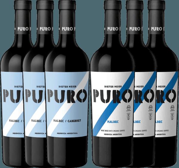 Deze twee biologisch geteelde Puro rode wijnen van Dieter Meier komen uit het beste wijnbouwgebied van Argentinië: Mendoza Leer beide wijnen nu kennen en liefhebben in ons 6-pack! Het6er Pakket - Puro Malbec & Malbec Cabernet omvat 3 flessenDieter Meier Puro Malbec CabernetDe Puro Malbec Cabernet overtuigt de neus met zijn fruitige bouquet en het gehemelte met zijn krachtige en volle karakter. 3 flessenDieter Meier Puro MalbecDe Puro Malbec straalt een prachtig bouquet van rode bessen en morellen kersen uit. Het gehemelte verwent zich met de aangenaam toegankelijke en toch krachtige persoonlijkheid met sappig pruimenfruit.