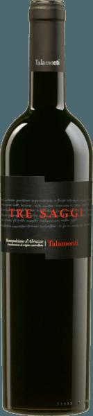 De Tre Saggi Montepulciano d'Abruzzo DOC van Talamonti schittert intens robijnrood met violette reflecties in het glas. In de neus maakt hij indruk met aroma's van rood fruit, geur van Amarena kers en een lichte kruidige noot, licht getoaste tonen van hazelnoot en koffie. In de mond is deze rode wijn uit Midden-Italië droog, met een ronde en zachte body en aangenaam sappige tannines. Lange, fruitige afdronk. Vinificatie van de Tre Saggi Montepulciano d'Abruzzo uit Talamonti Voor deze rode wijn wordt 100% Montepulciano d'Abruzzo gevinifieerd. De druiven worden selectief geoogst, ontsteeld en vervolgens bij een gecontroleerde temperatuur geweekt. De malolactische gisting vindt plaats in barriques, waarin de wijn 12 maanden rijpt voordat hij nog eens 12 maanden in de fles wordt bewaard. Pas dan wordt deze intense rode wijn op de markt gebracht. Aanbevolen voedsel voor de Tre Saggi van Talamonti Geniet van deze heerlijke rode wijn uit Abruzzo bij gebraad, wildgerechten en gerijpte kaas. Onderscheidingen voor de Talamonti Tre Saggi Mundus Vini: Zilver voor 2015 I Vini di Veronelli: 3 sterren & 90 punten voor 2013 Wine Spectator: 88 punten voor 2013 Gambero Rosso: 2 glazen voor 2013 Mundus Vini: Zilver voor 2013