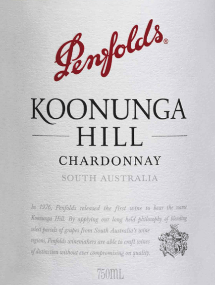 Koonunga Hill Chardonnay from Penfolds is a pure grape variety, creamy white wine from the Australian wine-growing region of South Australia. In the glass this wine shines in a bright straw yellow with glittering reflections. The fruity bouquet is characterised by juicy, fresh nectarines. This is accompanied by fine oak wood nuances and wonderful hints of summer blossom honey. With juicy fruit of peach and melon this Australian white wine convinces the palate. Delicately creamy vanilla notes combine with notes of malt to create a wonderfully spicy-fruity aroma. The body possesses depth and complexity, which is perfectly accompanied by a fine acidity and the long, fresh finish. Vinification of Penfolds Chardonnay Koonunga Hills The Chardonnay grapes for this white wine grow mainly in Barossa Valley and Adelaide Hills. After harvesting, the grapes are fermented in French oak barrels at the Penfolds winery. Once the fermentation process is complete, this wine remains in the wooden barrels and matures on the fine yeasts. Food recommendation for the Koonunga Hills Penfolds Chardonnay Enjoy this dry white wine from Australia with light starters, crunchy salads with turkey breast or poached fish. But also as an inviting aperitif this wine is a good choice.