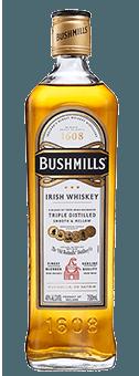 De Bushmills Original Irish Whiskey van de Old Bushmills Distillery is de klassieker bij Old Bushmills. Glimmend amberkleurig in het glas, toont deze Ierse whiskey een subtiel bouquet met kruidige tonen, hints van echte vanille en crème brûlée op de neus. In de mond openbaart hij zich warm en elegant, hints van honingzoetheid en kruidige noten worden omgeven door de zijdezachte en volle textuur. De afdronk is verrassend fris en kruidig. Productie en rijping van de Bushmills Original Irish Whiskey door Old Bushmills De Bushmills Original is gemaakt van graanwhiskey. Hij rijpt minstens vijf jaar in Amerikaanse witte eiken vaten, die vroeger als bourbonvaten werden gebruikt, en wordt dan gemengd met Ierse single malts. Alle Bushmills malts worden driemaal gedistilleerd. Het beslag bevat ongemoute gerst, volgens eeuwenoude traditie, en er wordt helemaal niet gedroogd boven turfrook. Dit geeft deze Ierse whisky's van de traditionele distilleerderij Old Bushmills hun typische fruitige, zachte karakter, zonder rokerige tonen in het aroma en de smaak. Serveeradvies voor de Bushmills Original Irish Whiskey van de Old Bushmills Distillery Kenners raden aan van de Bushmills Original Irish Wishkeyte genieten op kamertemperatuur, want dan ontvouwt hij zijn fruitig-kruidige geur en smaaknoten het best.puur of ook on-the-rocks op ijs, of in een mixdrankje. Awards San Francisco World Spirits Competition 2013 -.GoudIWSC International Wine & Spirit Competition 2014 - uitmuntend ZilverThe Irish Whiskey Masters (The Spirit Business) - 2014 Zilver, 2013 Goud