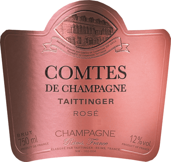 The Comtes de Champagne Rosé is an excellent, outstanding champagne from Taittinger. The two grape varieties Pinot Noir (70%) and Chardonnay (30%) are married on the dot. In the glass, this sparkling wine shines in a bright strawberry pink with a delicate mousseux. The bubbles rise in incessant strings of pearls. The intense bouquet first reveals fragrant aromas of fresh citrus fruit - especially blood orange - and some raspberry. This is followed by more mature notes of candied red and black fruits (creme de cassis, cherries and strawberries), juicy peach and some candied ginger. Finally, the nose unfolds hints of sweet pastries and candied hazelnuts. This French sparkling wine spoils the palate with a seductive acid-sweet play. The red fruits of the nose are present on the palate and are accompanied by fine nuances of vanilla and lemon peel. The body is very well structured and pleases with an elegant freshness. The expressive finish is incredibly smooth, very long and silky. Vinification of the Taittinger Comtes de Champagne Rosé Only strictly selected grapes from the Grand Cru sites of the Montagne de Reims and the Côte des Blancs are used for this wonderful sparkling wine. The harvest is done by hand and the grapes are immediately brought to the cellar. There the grapes are gently pressed as a whole. Only the fine must after the first pressing is used for this champagne. The musts are quickly fermented in stainless steel tanks. For a short time a part of this wine matures in the barrel before the assemblage is composed. The base wine is bottled with the addition of the filling dosage (yeast and sugar) and left to mature for at least 5 to 8 years in the deep chalk galleries of Taittinger in Reims. Through regular shaking and turning, the yeast, which was initially at the bottom, gradually collects in the bottleneck. This champagne is then degorged. The yeast plug is frozen in the bottle neck and the bottle is opened. Food recommendation for the Comtes de Champag