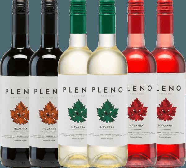 Maak kennis met de Pleno lijn van Bodegas Agronavarra! De rode wijn behaagt met een goed gestructureerde twill - De witte wijn overtuigt met heerlijk fruitige aroma's van tropisch fruit - De rosé wijn verrast met sterke tonen van aardbeien. Dompel jezelf onder in de wereld van Pleno. De6er Kennenlernpaket - Pleno wijnen van Bodegas Agronavarra bevat: 2 flessen Pleno Tempranillo Tinto DO 2 flessen Pleno Blanco DO 2 flessen Pleno Rosado DO