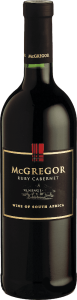 This powerful and intense red wine possesses thanks to wooden barrel maturation a nice spice and a delicate tannin structure. The Ruby Cabernet McGregor is dry and elegant, yet juicy and full-bodied. Serve it as to poultry dishes, lamb and strong cheeses.