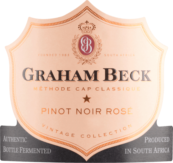The Brut Rosé Vintage from Graham Beck shows itself in a bright salmon red colour. This South African sparkling wine seduces the nose with slightly violent aromas and the noticeably ripe and fresh strawberry aromas of the Pinot Noir grapes. The palate is pampered by the creamy complexity of the Chardonnay grape and raspberry aromas combined with fresh sorbet. This sparkling wine is rounded off by a long finish. Vinification of Graham Beck Brut Rosé Vintage The Pinot Noir and Chardonnay grapes are pressed together. After the must has fermented, this sparkling wine from South Africa is gently filtered and bottled. This Brut Rosé Vintage then undergoes a second fermentation according to the traditional method. Food recommendation for Vintage Brut Rosé Graham Beck We recommend this rosé sparkling wine with fried trout with basil and mashed potatoes or as an animating aperitif.