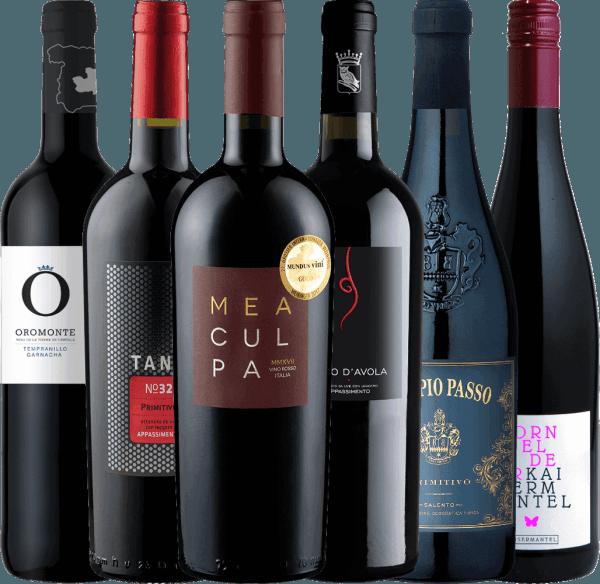 Met deze zes heerlijke halfdroge rode wijnen zult u het adventsseizoen zeker niet alleen zoeter maken. Voor de winterse dagen van het jaar hebben wij dit winterpakket van 6 wijnen voor u samengesteld. Het6er winterpakket met halfdroge wijnen voor het koude seizoen bevat 1 flesDoppio Passo Primitivo Salento van Casa Vinicola Carlo Botter 1 fles Tardus Appassimento Nero d'Avola IGT vanCantine Minini 1 fles MEA CULPA Vino Rosso Italia van Cantine Minini 1 fles Oromonte Tempranillo Garnacha Semi-dry van Navarro Lopez 1 fles TANK No 32 Appassimento Primitivo IGT van Cantine Minini 1 fles Dornfelder Kaisermantel kwaliteitswijn halfdroog van Dr. Koehler