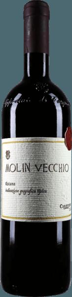De Molin Vecchio Rosso Toscano IGT van Carpineto verschijnt in een zeer intens rood in het glas en presenteert zijn wijnachtige bouquet met aroma's van pruimen, bramen, maar ook fijne nuances van vanille en zoethout. Deze cuvée uit Italië is in de mond vertegenwoordigd met een complexe en elegante structuur. Vinificatie voor de Molin Vecchio Rosso Toscano IGT van Carpineto De wijnstokken voor deze rode wijn van Sangiovese, Cabernet Sauvignon en Syrah groeien op een zuidhelling en op een bodem met klei- en zandlagen. De gisting van deze Italiaanse rode wijn vindt plaats met inheemse gisten in kleine gistkuipen van glasbeton met een maceratie van 15 dagen bij een gecontroleerde temperatuur van 25-30°Celsius. Deze cuvée werd vervolgens overgebracht naar kleine vaten van Amerikaans en Frans eikenhout van 225 liter om daar gedurende ongeveer 12 maanden te rijpen, waarna hij zonder verdere behandeling werd gebotteld. Aanbevolen voedsel voor de Molin Vecchio Rosso Toscano IGT van Carpineto Geniet van deze droge rode wijn bij fijn gebraad. Awards voor de Molin Vecchio van Carpineto Wine Enthusiast: 91 punten voor 2009 I Vini di Veronelli: 92 punten voor 2007 Wine Spectator: 95 punten voor 2004