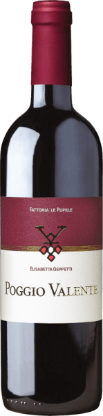 The Poggio Valente from Fattoria Le Pupille shines in a dense, dark red in the glass. The nose reveals aromas of red fruits, especially cherry, followed by balsamic notes. The palate is powerful and round with beautiful fruit and firm, silky tannins. The finish is tasteful and pleasantly fresh. Vinification of thePoggio Valente from Fattoria Le Pupille In 1996 Elisabetta Geppetti acquired the single vineyard Poggio Valente near the medieval village of Pereta in the south of Tuscany. The vineyard is situated at an altitude of 280 m.a.s.l., in a hilly position, the upper soil structure is sand and lies on sandstone rocks. Selected Sangiovese clones and a small percentage of Alicante grow here. The grapes are harvested when they are a little overripe and then macerate on their skins for about 25 days. Fermentation and malolactic fermentation take place in stainless steel tanks, after which the wine is aged in small wooden barrels of French oak and a small part of American white oak for 15 months. Recommended food for Le Pupille Poggio Valente Rosso This powerful red wine from the southern Maremma tastes best with red meat and game dishes. Awards for the Poggio Valente Le Pupille Rosso Gambero Rosso: 1 glass for 2012 and 2011 Robert M. Parker: 93 points for 2012 and 2009, 92 points for 2011 and 2008 Wine Spectator: 91 points for 2009 and 2006, 90 points for 2007 James Suckling: 94 points for 2011, 92 points for 2010, 93 points for 2009
