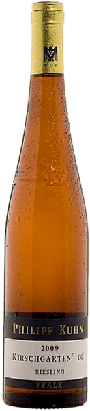 De volumineuzeLaumersheimer Kirschgarten Riesling trocken Großes Gewächs nach VDP Statut van Philipp Kuhnverwent met een enorm delicate mineraliteit, een beetje kruidigheid en hints van citrusvruchten in de neus. De heldere, fijnkruidige smaak wordt gedragen door een compacte body. Een aroma van mineraal steenfruit en een vleugje fruitzoetheid zorgen voor een levendig fris en diepgaand gevoel.Wonderbaarlijk evenwichtig en vol harmonie, overlopend in de lange minerale en tegelijkertijd fruitige afdronk.