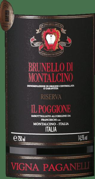 """De Brunello di Montalcino Riserva Vigna Paganelli DOCG van Tenuta il Poggione wordt alleen in de beste jaren en in beperkte hoeveelheden geproduceerd. Deze Brunello Riserva van Tenuta il Poggione toont in dicht robijnrood in het glas, op de neus onthult zich een elegant boeket met aroma's van rood fruit, leer en specerijen. In de mond is deze uitzonderlijke Toscaanse rode wijn evenwichtig, met een aanhoudende aanwezigheid in de mond, een volle body en stevige tanninestructuur, de afdronk is betoverend lang. Vinificatie van de Brunello di Montalcino Riserva Vigna Paganelli van Tenuta Il Poggione Deze exclusieve Brunello Riserva Vigna Paganelli is een cru van Sangiovese druiven van de oudste wijngaard met dezelfde naam van het landgoed """"I Paganelli"""", geplant in 1964. In deze wijngaard groeien wijnstokken van de hoogste kwaliteit, die één voor één selectief worden geoogst, alleen de beste en rijpste worden voor deze wijn uitgekozen. Na de handmatige oogst gist de most gedurende 20 dagen op de schillen. De wijn verblijft vervolgens 48 maanden in grote Franse eiken vaten van 30 hl en 50 hl, gevolgd door twee jaar rijping op fles. Alleen dan kan het """"Riserva"""" genoemd worden. Food pairing voor de Brunello di Montalcino Riserva Vigna Paganelli van Tenuta Il Poggione Deze indrukwekkende Brunello Riserva is een uitstekende begeleider van rood vlees en wildgerechten, geserveerd met paddestoelen of truffels, maar ook van belegen kazen. Awards James Suckling - 97 puntenAntonio Galloni - 95 puntenWine Advocate Robert M.Parker - 98 punten """"De aroma's van deze Brunello Riserva zijn prachtig met subtiele bosvruchten, sinaasappelschil en paddestoelen. Volle smaak, zeer fijne tannine en lange en aanhoudende afdronk. De smaken zijn zo complex met aarde en donker fruit. Zeer mooie en droge tannines. Drinken of wachten."""" James Suckling"""