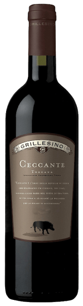 DeCeccante Toscana IGTvanAzienda Il Grillesino schittertin een dicht, rijk robijnrood.Het krachtige, complexe bouquet doet denken aan volrijpe donkere bessen (cassis) en sappige kersen, die het volle, complexe karakter van deze rode wijn weerspiegelen. Aroma's van gedroogde pruimen en warme, mooi geïntegreerde kruidige tonen van zoethout en vanille doen hun intrede.  Op het fijn gestructureerde en tegelijkertijd volle gehemelte onthultmerkbaar grijpbare tannines eneen volle smaak van rijpe fruitaroma's en veel specerijen, die uitmondt in een lange, krachtige afdronk.  Serveer hem bij stevige vleesgerechten met donkere sauzen of chocoladedesserts. Deze Cabernet single-varietal rijpte 18 maanden in barrique en daarna nog een jaar in de fles.