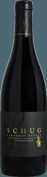 Schug Winery'sPinot Noir Estate Grown is een van Schug's Heritage Reserve wijnen - alleen die wijnen van een vintage met uitzonderlijke complexiteit en zeer lange keldertijd worden opgenomen. In het glas presenteert deze rode wijn zich in een dichte paarse kleur met violette reflecties. Het intense bouquet ademt krachtige aroma's van rijpe kersen, rozenblaadjes en wat kersenlikeur. Het gehemelte wordt verwend door expressieve tonen van zwarte kersen en veenbessen, onderstreept met hints van lavendel en wat kruidigheid en tabak. De body van deze rode wijn overtuigt met een complexe structuur en perfect geïntegreerde tannines. De afdronk is heerlijk evenwichtig, rond en onvergetelijk lang. Vinificatie van de Schug Pinot Noir Estate Grown Na de zeer zorgvuldige handmatige oogst van de Pinot Noir druiven, worden ze onmiddellijk naar de wijnmakerij gebracht. Daar worden de druiven streng geselecteerd en alleen de beste druiven worden gebruikt voor deze rode wijn. Het beslag wordt vervolgens gefermenteerd in roestvrijstalen tanks. De rijping op hout zorgt voor de prachtige nuances van zowel kruiden als tabak en de perfecte tanninestructuur. Deze wijn wordt uitsluitend gerijpt in de beste barriques van Frans eikenhout. De houtrijping duurt minstens 16 maanden. Spijsadvies voor de Estate Grown Pinot Noir van Schug Geniet van deze droge rode wijn uit Californië bij heel bijzondere festiviteiten - vooral bij gerechten met eendenborst of lam is deze wijn de perfecte keuze. Onderscheidingen voor de Schug Heritage Reserve Pinot Noir James Suckling: 92 punten voor 2014 Beverage Testing Institute: 91 punten voor 2014