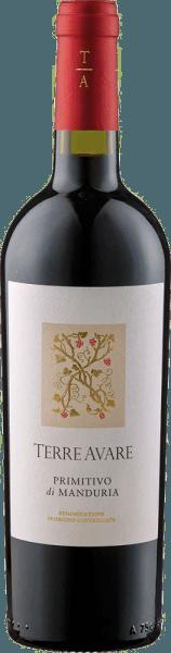 De Primitivo di Manduria 'Terre Avare' DOC van Terre Avare - Cantine Francesco Minini verschijnt in het glas in een intense robijnrode kleur met violette reflecties, die veranderen in een granaatrood met de leeftijd. Het complexe bouquet van deze wijn is kruidig met intens fruit. De fruitige aroma's betoveren met tonen van zwarte kersen, pruimen en granaatappel en worden vergezeld door de kruidige nuances van hout en tabak. Deze rode is een wijn met veel rijkdom en diepte met een opmerkelijk zachte tanninestructuur. De lange afdronk van deze wijn maakt dat je de volgende slok wilt nemen. Spijsaanbevelingen voor de Primitivo di Manduria 'Terre Avare' DOC van Terre Avare - Cantine Francesco Minini Geniet van deze droge rode wijn bij krachtige vleesgerechten zoals lamsvlees of gegrilde steaks of bij gerijpte kaas. Prijzen voor de Primitivo di Manduria 'Terre Avare' DOC van Terre Avare - Cantine Francesco Minini Mundus Vini: Goud (Vintage 2015) Mundus Vini: Zilver (oogstjaar 2011)