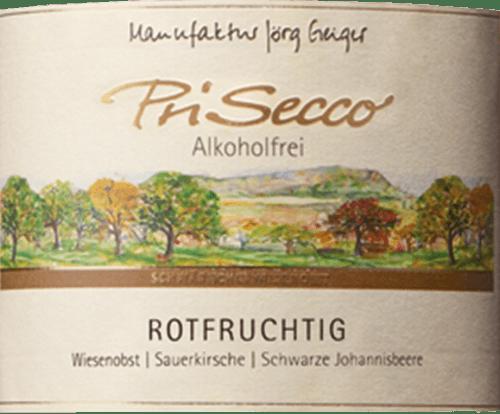 De Prisecco rood-fruitig van de manufactuur Jörg Geiger toont zich in het glas in een helder robijnrood en betovert met aroma's van zure kersen, zwarte bessen en vlierbessen. Deze aroma's worden afgerond door limoen. Deze alcoholvrije fruitcocktail onthult de lichtzure toets van kweepeer met verfrissende, fijne koolzuur in de mond. Productie van de Prisecco rood-fruit van de manufactuur Jörg Geiger De vruchten van de PriSecco komen van de landschapsvormende weiden aan de voet van de Zwabische Alb. Het sap van handgeplukte appels uit de biologische teelt vormt de basis voor deze alcoholvrije cocktail. Verdere ingrediënten zijn perensap, zure kersensap, zwarte bessensap, vlierbloesemsap, kweeperen sap, limoensap concentraat en specerijen. Voedingsadvies voor de Prisecco rood-fruit van de fabrikant Jörg Geiger Geniet van deze Prisecco als aperitief of bij desserts met bessen, bijvoorbeeld rode vruchtengelei met vanille-ijs.