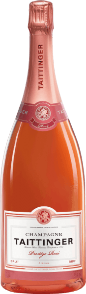 The Brut Prestige Rosé from Champagne Taittinger is made from the typical Champagne grape varieties Pinot Noir (70%) and Chardonnay (30%). This rosé sparkling wine impresses with a lively and refreshing pink colour that almost appears pink. The glass shows a fine, persistent perlage. The bouquet is dominated by fresh aromas of ripe strawberries. Notes of juicy raspberry and subtle spice accompany the nose. On the palate there is a wonderful interplay of lively berry fruit and fresh elegance. The finish offers a wonderful length and charming personality. Food recommendation for the Prestige Rosé Brut from Champagne Taittinger Magnum Enjoy this sparkling wine from France well chilled to fresh fruit salad with many red berries, or also to goat cream cheese. But also as an aperitif a real pleasure. Awards for the Taittinger Champagne Prestige Rosé Brut Wine Spectator: 91 points