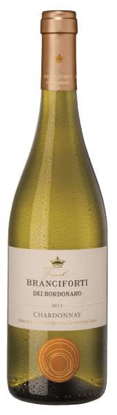 Branciforti dei Bordonaro Chardonnay Terre Siciliane IGT from Branciforti shines straw yellow in a glass. Its sweet exotic fruit aromas are immediately captivating. A delicate and harmonious taste experience is presented on the palate. A delicious pleasure!