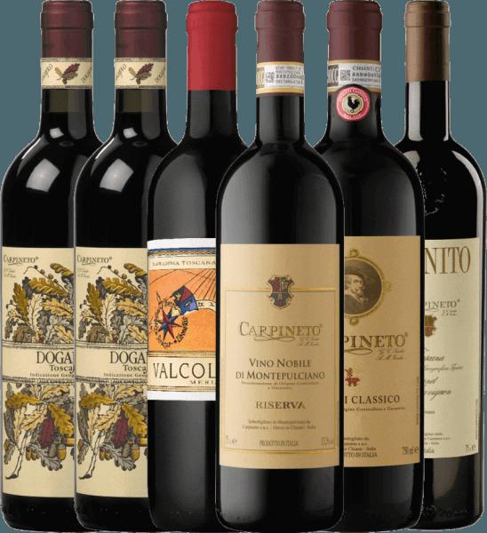 Met dit 6-proeverijen arrangement nemen wij u mee op reis naar Italië naar het Toscaanse top wijnhuis Carpineto. Inbegrepen zijn vijf geselecteerde rode wijnen van het Italiaanse wijnhuis, waarvan u solo kunt genieten bij gezellige avonden met familie en vrienden of ook bij uw perfecte diner. Het Carpineto kennismakingspakket omvat 2 flessen: Dogajolo Toscano Rosso IGT 1 fles: Valcolomba Merlot Maremma IGT 1 fles: Chianti Classico DOCG 1 fles: Farnito Cabernet Sauvignon Toscano IGT 1 fles: Vino Nobile di Montepulciano Riserva DOCG