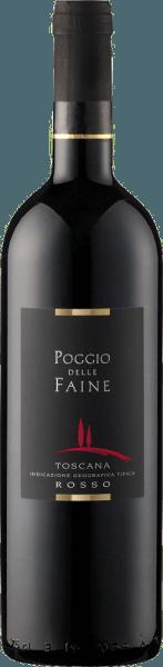 De Rosso Toscana van Poggio delle Faine toont zich in het glas in een diep granaatrood en onthult zijn geconcentreerde bouquet. Deze bevat de aroma's van donker bessenfruit en kersen, alsmede de kruidige componenten van vanillehout. In de mond is deze cuvée van Sangiovese en Cabernet Sauvignon aanwezig met warm en vleiend fruit en fijne nuances van koffie en chocolade. Deze rode wijn uit Toscane heeft een lange afdronk, concentratie en veel potentieel. Aanbevolen eten voor de Poggio delle Faine Rosso Geniet van deze droge rode wijn bij pasta's met tomatensauzen, sterke vleesgerechten van varkens-, rund-, lams- of wildvlees of bij gegrilde gerechten. Prijzen voor de Toscana Rosso van Poggio delle Faine Mundus Vini: Goud voor 2011 Berlijn Winetrophy: Goud voor 2011