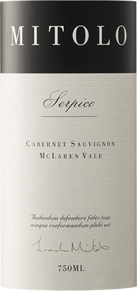 The powerful Serpico Cabernet Sauvignon from the house of Mitolo glides into the glass with a dense crimson. To the nose this Mitolo red wine reveals all kinds of blackcurrants, blueberries, mulberries and blackberries. As if this wasn't already impressive, the ageing in small wooden barrels is joined by sun-warmed rock, cigar box and oriental spices. On the palate the texture of this powerful red wine is perfectly balanced. The Serpico Cabernet Sauvignon flatters with its balanced fruit acidity and a soft mouthfeel, without losing any of its freshness. In the finish this red wine from the wine growing region South Australia finally inspires with extraordinary length. Again there are hints of mulberry and black currant. In the aftertaste mineral notes of the soils dominated by limestone and clay are added. Vinification of the Mitolo Serpico Cabernet Sauvignon The powerful Serpico from Australia is a pure wine, vinified from the Cabernet Sauvignon grape variety. The grapes grow under optimal conditions in South Australia. Here the vines dig their roots deep into soils of clay and limestone. After the grape harvest, the grapes are immediately transported to the winery. Here they are sorted and carefully broken up. The fermentation follows, after which the Serpico Cabernet Sauvignon is aged for 10 months in French oak barrels. Food recommendation for the Serpico Cabernet Sauvignon of Mitolo Drink this red wine from Australia at a temperature of 15 - 18°C as an accompaniment to ossobuco, lamb stew with chickpeas and dried figs or stuffed peppers. Awards for the Serpico Cabernet Sauvignon from Mitolo In addition to an icon wine reputation, this red wine from Mitolo can also boast awards and top ratings beyond 90 points. In detail these are Wine Advocate - Robert M. Parker - 93 points