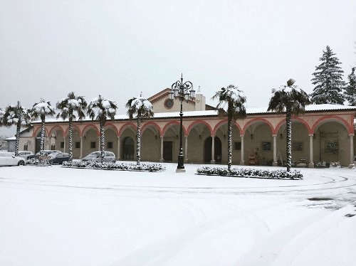 The snow-covered Ca dei Frati winery