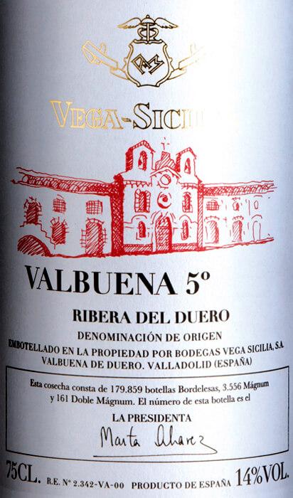 Valbuena 5 Ribera Del Duero Doca Vega Sicilia Vinello