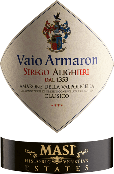 The Vaio Armaron Amarone delle Valpolicella Classico from the pen of Serego Alighieri from Veneto shows a dense ruby red colour in the glass. Held at a slight slant, the Burgundy goblet reveals a charming garnet red tone at the edges. The bouquet of this red wine from Veneto enchants with nuances of prunes, morello cherry, dried fruit and raisins. Let's continue to explore the aromas, and, encouraged by the influence of oak, we find the biggest hazelnut, walnut and cinnamon. This red wine from Serego Alighieri is the right drop for all wine drinkers who like as little residual sugar in their wine as possible. However, it is never sparse or brittle, as is appropriate for a wine of this reputation. On the palate, the texture of this powerful red wine is wonderfully dense. Due to the balanced fruit acidity, the Vaio Armaron Amarone delle Valpolicella Classico flatters with a soft mouthfeel, without missing juicy liveliness. Finally, the finale of this red wine from the Veneto wine growing region inspires with remarkable reverberation. Vinification of the Serego Alighieri Vaio Armaron Amarone delle Valpolicella Classico Basis for the powerful Vaio Armaron Amarone delle Valpolicella Classico from Veneto are grapes from the vine varieties Corvina, Molinara and Rondinella. After the manual harvest the grapes reach the winery as quickly as possible. Here they are selected and carefully ground. Fermentation then takes place in large wood at controlled temperatures. The fermentation is followed by a maturation of 40 months in Slavonian oak barrels. Recommended food for the Vaio Armaron Amarone delle Valpolicella Classico by Serego Alighieri This Italian red wine is best enjoyed at a temperature of 15 - 18°C. It goes perfectly with lamb stew with chickpeas and dried figs, boeuf bourguignon or vegetable couscous with beef burgers. Awards for the Vaio Armaron Amarone delle Valpolicella Classico from Serego Alighieri In addition to an iconic wine reputation, this red wine from Serego Alighieri also has numerous awards and top ratings beyond 90 points. In detail these are James Suckling - 95 points Wine Advocate - Robert M. Parker - 93 points Wine Spectator - 94 points