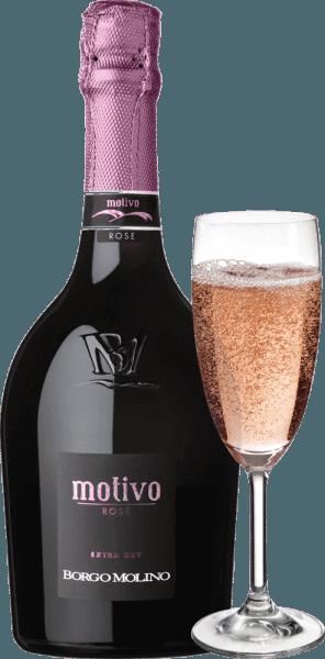 """De Motivo Rosé extra dry van Borgo Molino is een uitstekend aperitief op basis van Glera, Raboso en Pinot Nero. Deze top spumante uit Veneto bekoort met veel levendig fruit en een heerlijk fruitige smaak in de mond! De Motivo Rosé van Borgo Molino presenteert zich helderroze in het glas. Een fijne, langdurige perlage, gekoppeld aan een fruitig en intens bouquet dat doet denken aan frambozen, aardbeien en rozen, karakteriseert deze cuvée. Fris, sappig en levendig van smaak, de Motivo Rosé doet alles goed. Een mousserende wijn uit Noord-Italië, die onmiddellijk weet te inspireren en die met zijn ongewone flesvorm al zegt : """"Hier komt iets bijzonders!"""" Vinificatie van de Borgo Molino Motivo Rosé De Motivo Rosé wordt gevinifieerd in Borgo Molino van de druivensoorten Glera, Raboso en Pinot Nero. De druiven worden geteeld in de Marca Trevigiana regio en worden geoogst op het moment van optimale rijpheid. Spijsadvies voor de Borgo Molino Motivo Rosé Geniet van deze buitengewone mousserende wijn uit Veneto als aperitief of bij aromatische visgerechten. Onderscheidingen voor de Motivo Rosé IWSC 2017: Zilver Luca Maroni 2017: 90 punten Mundus Vini 2013: Zilver"""