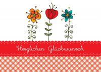 Herzlichen Glückwunsch Blumengrußkarte mit Umschlag