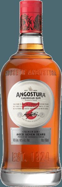 Deze 7 jaar oude rum presenteert zich in een donkere glanzende amberkleur in het glas. De Angostura 7yo van Angostura Rum bekoort met een delicaat rokerig aroma en warme kruidige tonen van chocolade en ahornsiroop. Fijne kruidige en geroosterde toetsen vervolledigen zijn krachtige, intense, aromatische en volle smaak. Het is een plezier zowel als een koele cocktail of solo.